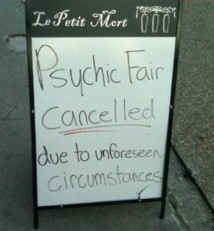 Psychic fair closed due to unforeseen circumstances