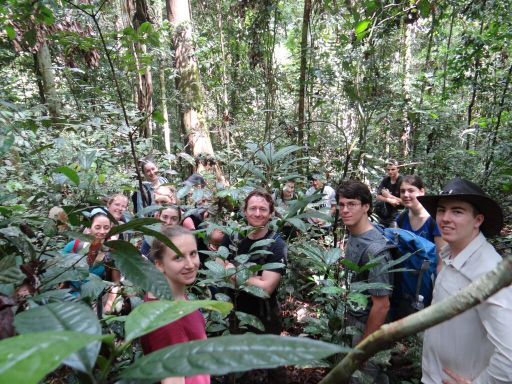 Chris Kettle (center), in Sabah as part of the TropFor course, 2015.