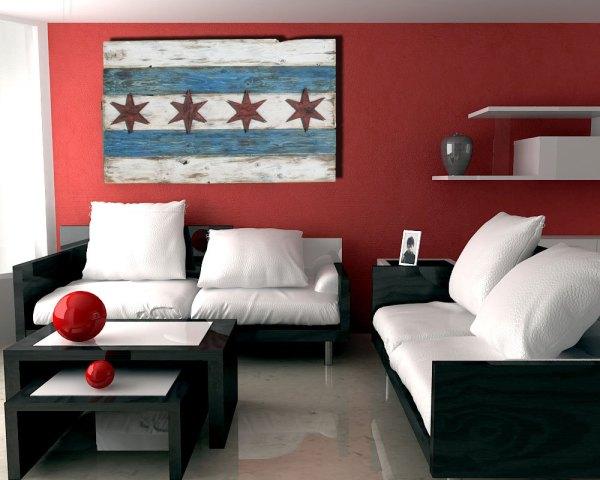 Handmade Distressed Wooden Chicago Flag Vintage Art