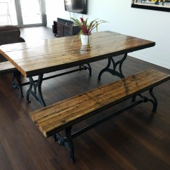 Maple Kitchen Table Chrome Reclaimed Oak Boxcar Plank With Benches, Recycled ...