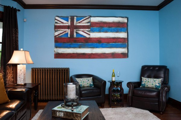 Weathered Wood Of Kind 3d Hawaii State Flag Wooden