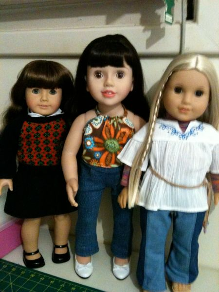 Pictured left to right.  Molly, Belle and Julie.  These are the big girls in my collection.