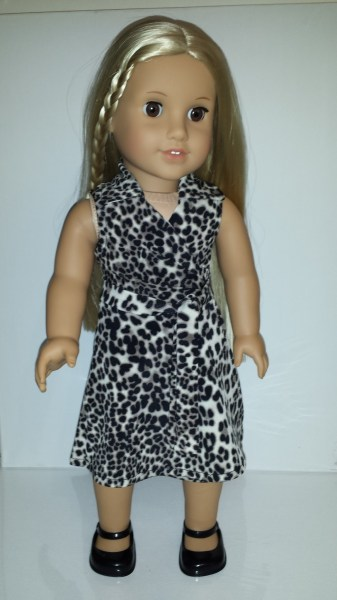 American Girl Doll Julie wearing leopard print wrap dress