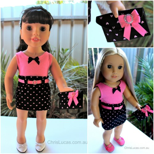 Australian Girl Doll Skirt Top and matching bag - Diamonte Buckles and Bows - Chris Lucas Designs - Collage