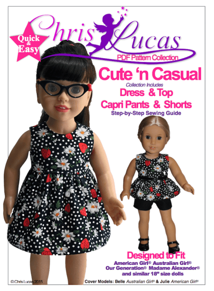 New Sewing Pattern Out Now 'Cute n Casual' for 18″ Dolls