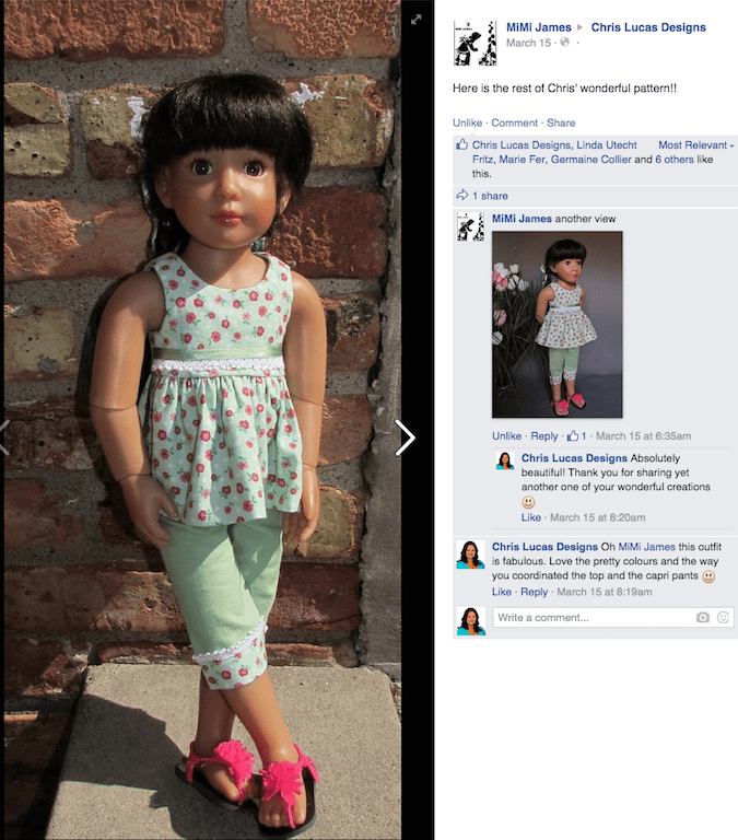 Cute n Casual - Sewing Pattern for Kidz n Cats Dolls -  Top and Pants made by MiMi James - Shared on Facebook Page Chris Lucas Designs