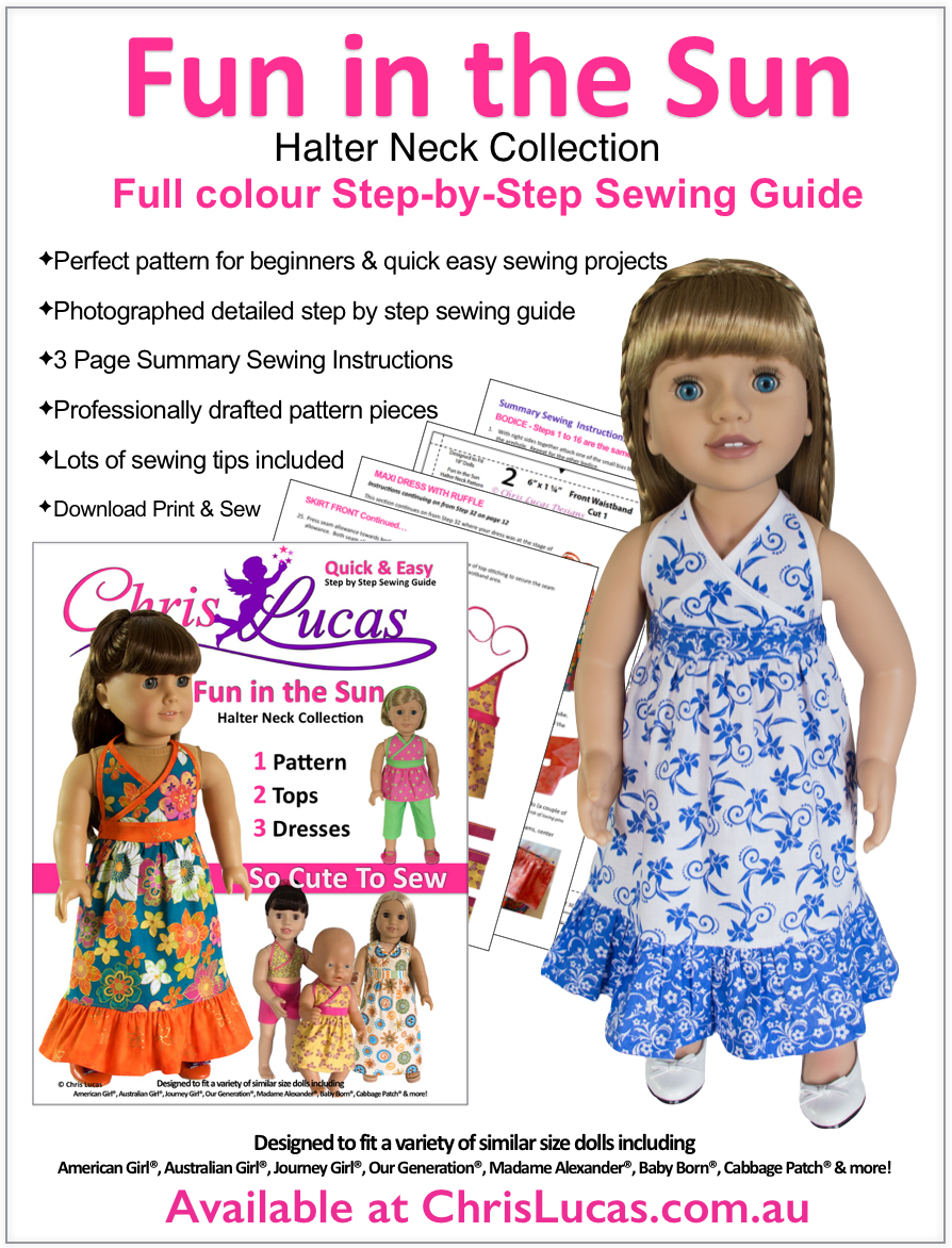 Fun in the Sun - Halter Neck PDF Doll Sewing Pattern for 15 - 18 ...