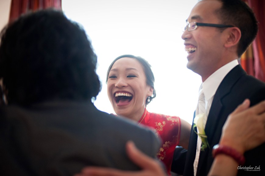 Christopher Luk Wedding 2011 - Lillian and Daniel - Immanuel Baptist Church and Columbus Event Centre Sala Caboto Toronto - Chinese Tea Ceremony Bride and Groom Laugh