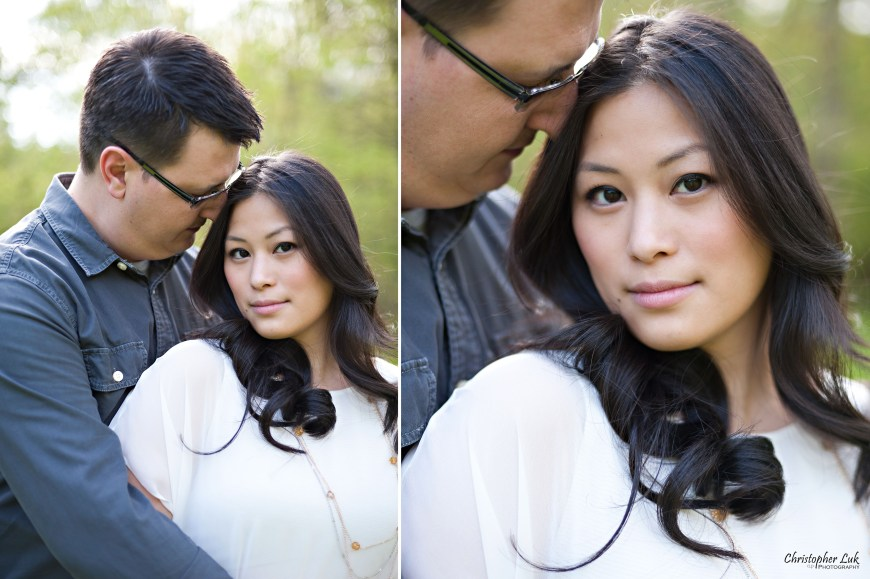 Christopher Luk Weddings 2012 - Engagement Session - Cindy and Walter - Northwood Downsview Park Toronto Wedding Photography - Casual Relaxed Creative Portraits - Bride and Groom Hug