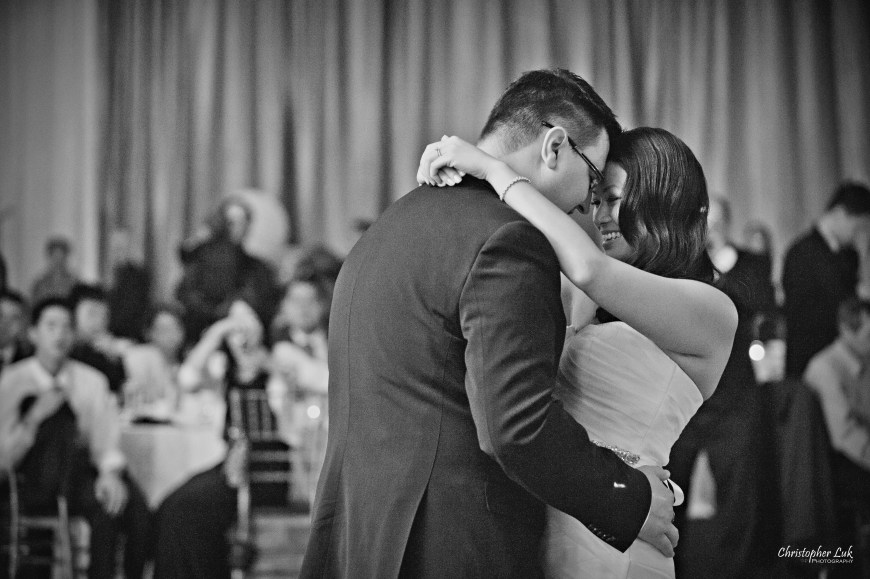 Christopher Luk 2012 - Cindy and Walter's Wedding - Westin Prince Hotel Downtown Toronto Grand Luxe Event Boutique - Bride and Groom First Dance Black and White