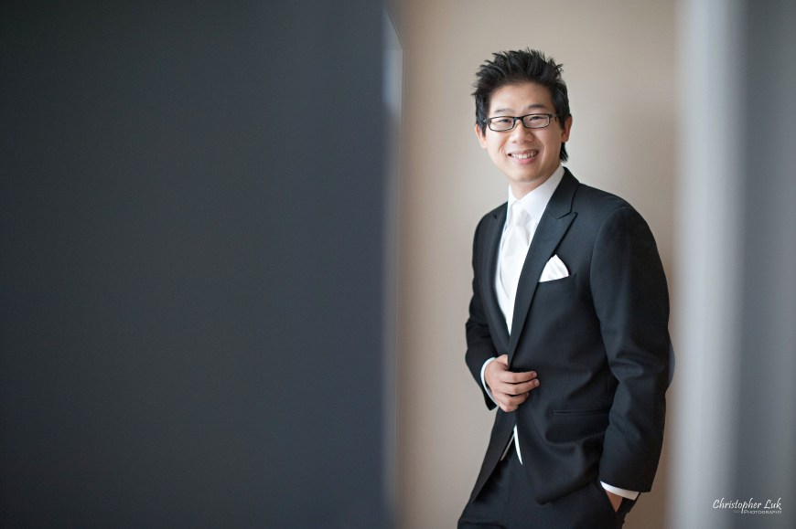 Christopher Luk 2012 - Theresa and Ryan's Wedding - Toronto Centre for Performing Arts Life-Spring Christian Fellowship Destiny Banquet Hall - Groom Getting Ready Creative Relaxed Portrait Smile