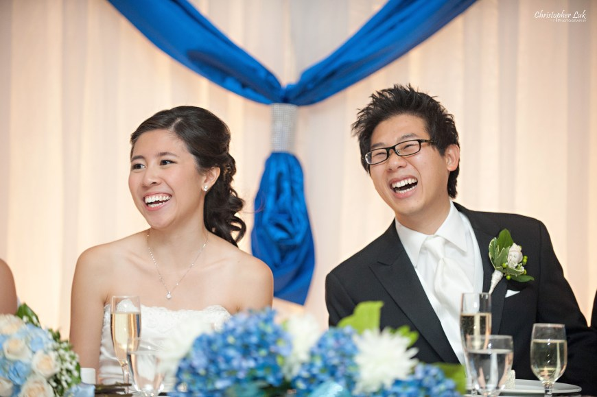 Christopher Luk 2012 - Theresa and Ryan's Wedding - Toronto Centre for Performing Arts Life-Spring Christian Fellowship Destiny Banquet Hall - Bride and Groom Laughing Dinner Reception