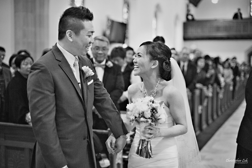 Christopher Luk 2013 - Emily and Ken's Spring Wedding - Glenview Presbyterian Church and Chateau Le Jardin Conference & Event Centre Venue - Toronto Wedding Portrait Lifestyle Photographer - Ceremony Groom and Bride Walking Down Aisle Together Happy Smile Tears of Joy Black and White