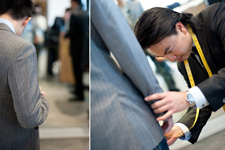Christopher Luk Wedding - Garrison Bespoke - Toronto Financial District Custom Suit Shirt Tuxedo Sportcoat Overcoat Shoes Tailors - Michael Nguyen Davie Tham JS Vann - Measuring Tape Garment Length Measurements Chalk Markings