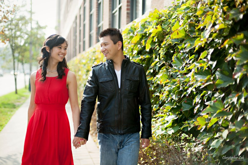 Christopher Luk 2014 - Shauna and Charles' Engagement Session - Liberty Village Toronto Wedding Event Photographer - Bride and Groom Natural Candid Photojournalistic Happy Smile Laugh Streetscape Vines