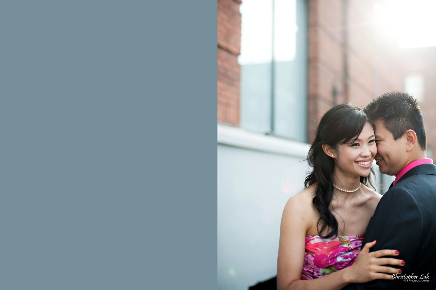 Christopher Luk 2014 - Shauna and Charles' Engagement Session - Liberty Village Toronto Wedding Event Photographer - Bride and Groom Natural Candid Photojournalistic Happy Laugh Smile Kiss Hug Flare Look