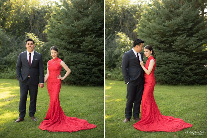 Christopher Luk 2015 - Vannessa and Daniel's Brampton Summer Outdoor Backyard Tea Ceremony Family Wedding Engagement Party Celebration - Bride Groom Navy Blue Suit Asian Red Dress Long Circular Wrapping Sweep Court Chapel Cathedral Train Creative Relaxed Natural Portraits