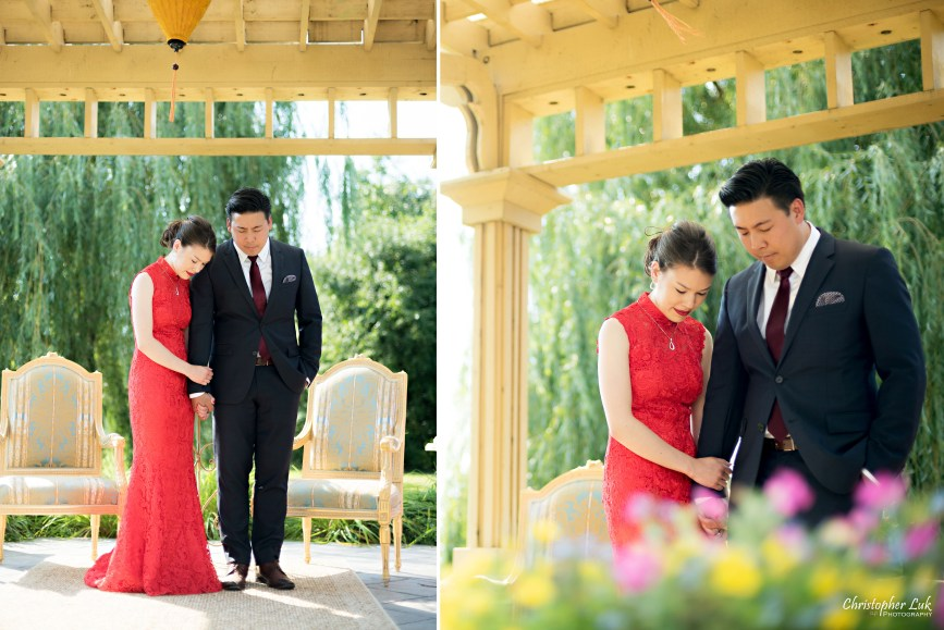 Christopher Luk 2015 - Vannessa and Daniel's Brampton Summer Outdoor Backyard Tea Ceremony Family Wedding Engagement Party Celebration - Bride Groom Navy Blue Suit Asian Red Dress Prayer Praying Photojournalistic Natural Candid Ceremony