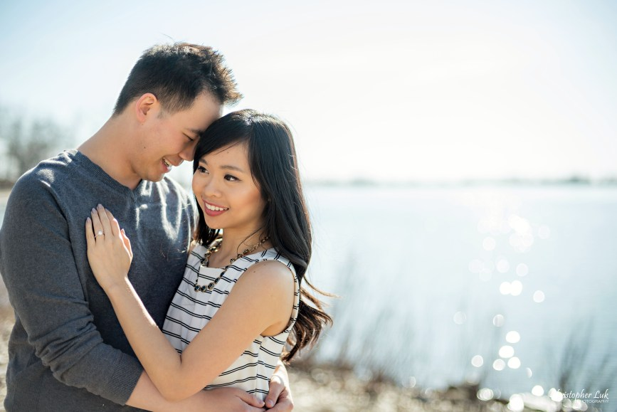 Christopher Luk Toronto Wedding Portrait Event Photographer Cherry Beach Spring Outdoor Park Engagement Session Bride Groom Natural Candid Photojournalistic Hug Smile