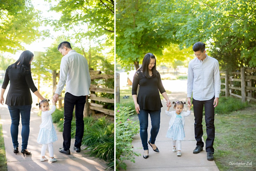 Christopher Luk (Toronto Wedding, Lifestyle & Event Photographer) - Markham Family Maternity Children Session Mommy Mom Daddy Dad Parents Toddler Infant Baby Girl Holding Hands Walking