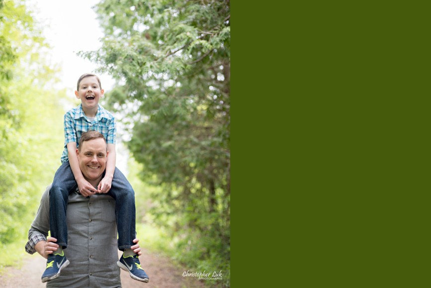 Photojournalistic Candid Natural Dad Son Father Child Boy Field Path Trees PiggyBack Shoulder Carry Cute Fun Happy