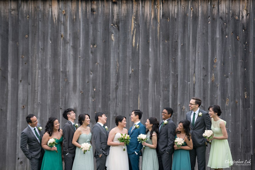 Christopher Luk: Toronto Wedding Photographer: Markham Museum Scarborough Chinese Baptist Church SCBC Columbus Event Centre Sala Caboto Natural Candid Photojournalistic Bride Groom Bridesmaids Groomsmen Bridal Party Creative Portrait Old Farm Barn Wooden Pallet Wall Talking Smiling Laughing