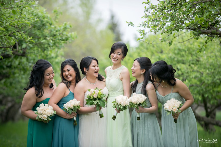 Christopher Luk: Toronto Wedding Photographer: Markham Museum Scarborough Chinese Baptist Church SCBC Columbus Event Centre Sala Caboto Natural Candid Photojournalistic Bride Bridesmaids Creative Portrait Apple Orchard Trees Smile Close Up Headshots Talking