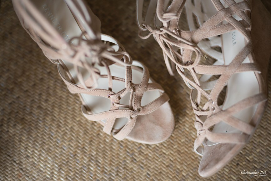 Christopher Luk Toronto Wedding Photographer - Bride Bridal Shoes Footwear Natural Suede Wedge Strap Sandals Texture Detail