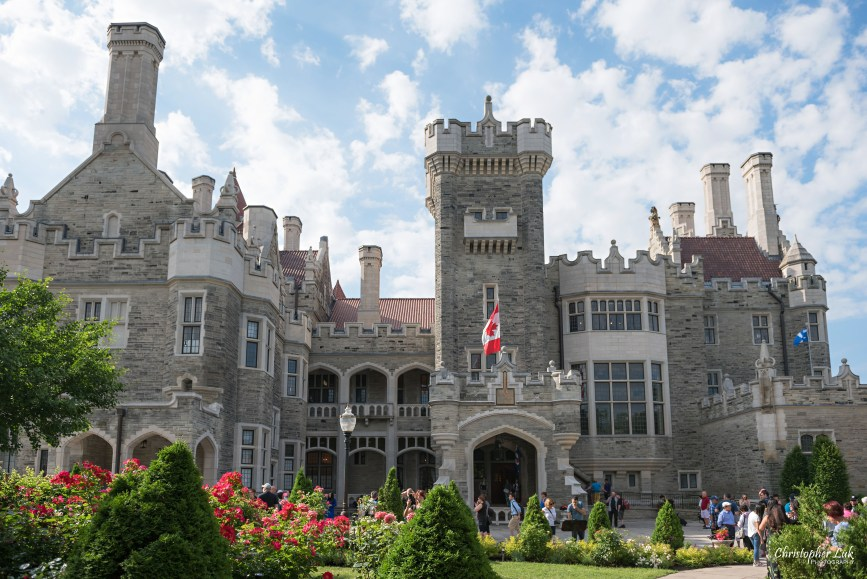 Christopher Luk Toronto Wedding Photographer - Casa Loma Conservatory Ceremony Creative Photo Session ByPeterAndPauls Paramount Event Venue Space Natural Candid Photojournalistic Bride Groom Castle Exterior Front Garden Wide Water Fountain Canadian Flag Tower Main Entrance