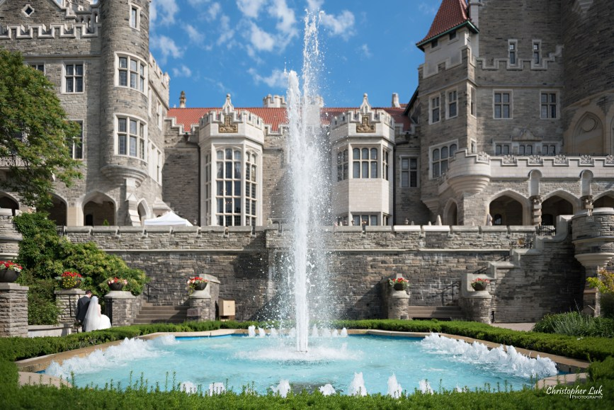 Christopher Luk Toronto Wedding Photographer - Casa Loma Conservatory Ceremony Creative Photo Session ByPeterAndPauls Paramount Event Venue Space Natural Candid Photojournalistic Bride Groom Castle Exterior Rear Garden Wide Water Fountain