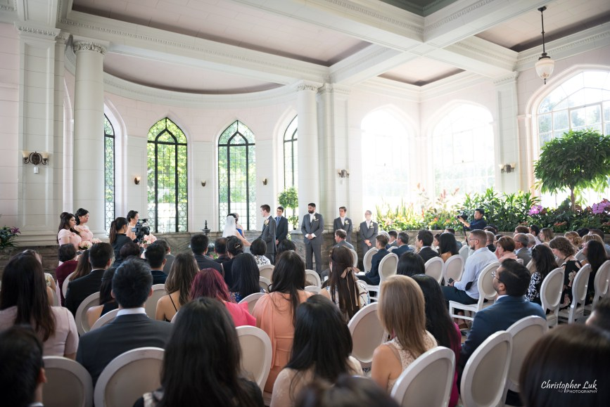 Christopher Luk Toronto Wedding Photographer - Casa Loma Conservatory Ceremony Creative Photo Session ByPeterAndPauls Paramount Event Venue Space Natural Candid Photojournalistic Castle Bride Groom Stained Glass Wide Guests Left Rear