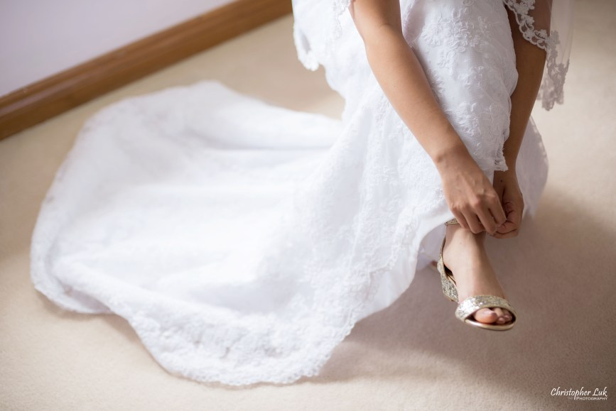 Christopher Luk - Toronto Wedding Photographer - Markham Home Private Residence Bride Alfred Angelo from Joanna's Bridal Gold Glitter Strap Sandal Shoes