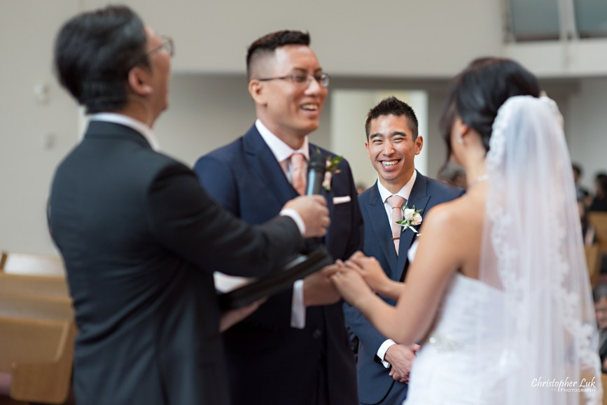 Christopher Luk - Toronto Wedding Photographer - Markham Chinese Baptist Church MCBC Christian Ceremony - Natural Candid Photojournalistic Bride Groom Vows Best Man Laugh