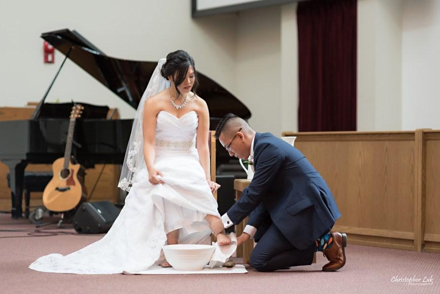 Christopher Luk - Toronto Wedding Photographer - Markham Chinese Baptist Church MCBC Christian Ceremony - Natural Candid Photojournalistic Bride Groom Water Vase Footwashing Serve Foot Washing Humility