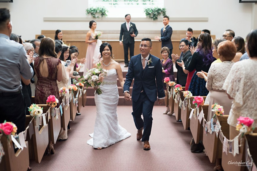 Christopher Luk - Toronto Wedding Photographer - Markham Chinese Baptist Church MCBC Christian Ceremony - Natural Candid Photojournalistic Bride Groom Friends Family Guests Congregation Wide Sanctuary Exit Recessional