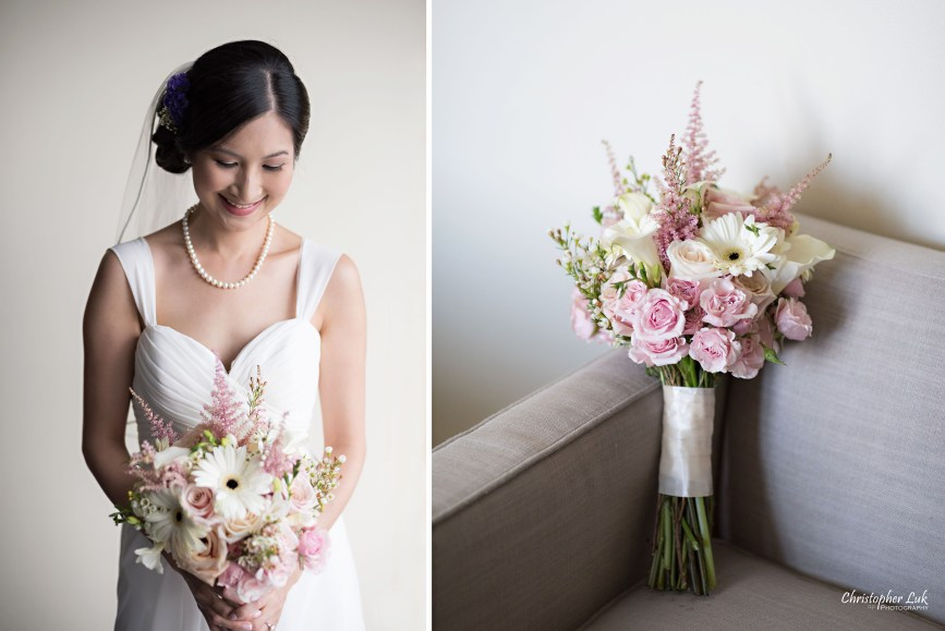 Christopher Luk - Toronto Wedding Lifestyle Event Photographer - Photojournalistic Natural Candid Hilton Suites Markham Bride Getting Ready Bridal Prep Grecian Euphoria Wedding Designs Florist Bridal Bouquet Detail