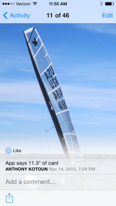 iPhone App measures degrees of rig can't to leeward.