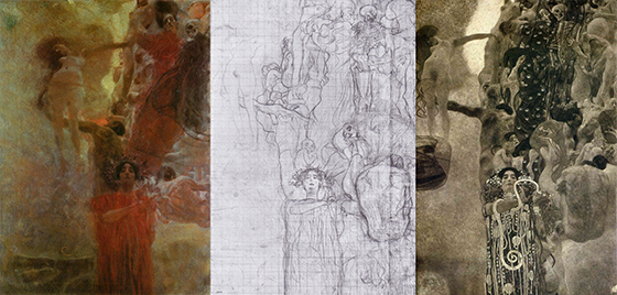 'Medicine' by Gustav Klimt - Oil Sketch, Final Preparatory Drawing, Photograph of Final Painting