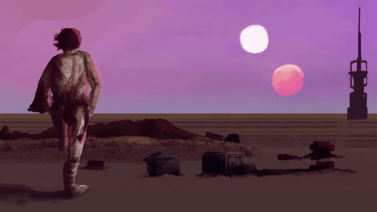 Luke watches the double sunset on Tatooine in this animated scene from '4 Rules To Make Star Wars Great Again'