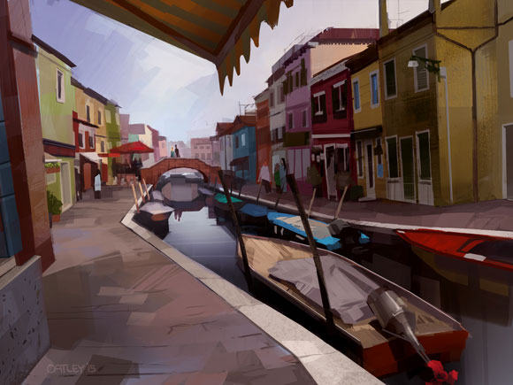 Listen to the interview via the YouTube Player above and watch the process video for my painting: 'Burano Sera.'