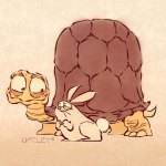 A cartoony illustration of a wise, old tortoise and an uncannily enthusiastic baby bunny who is very eager to learn.