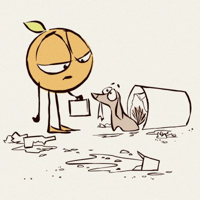 Coming home from work, an anthropomorphic orange is greeted by a guilty looking dog. The floor is littered with trash, spilled from the trash can. Art by Chris Oatley.