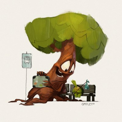 An anthropomorphic Tree sits next to a shy turtle on a bench at a bus stop. The Tree holds a travel-worn suitcase on his lap. The turtle holds a polka dot bindle. Grinning widely, the Tree attempts to strike up conversation. Digital painting and Character Design by Chris Oatley.