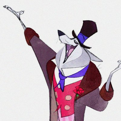 One of James Woods' many dynamic and masterfully drawn Character Designs from 'Mary Poppins Returns.' The smartly-dressed Mr. Wilkins the Wolf with open paw elevated in an oratorial gesture.