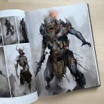 Character Concept Painting of a Draugr from 'God Of War' by Dela Longfish.