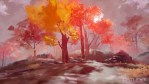 A 3d digital painting of red, orange and pink trees that border a flowing stream. Painterly, impressionistic and melancholic.