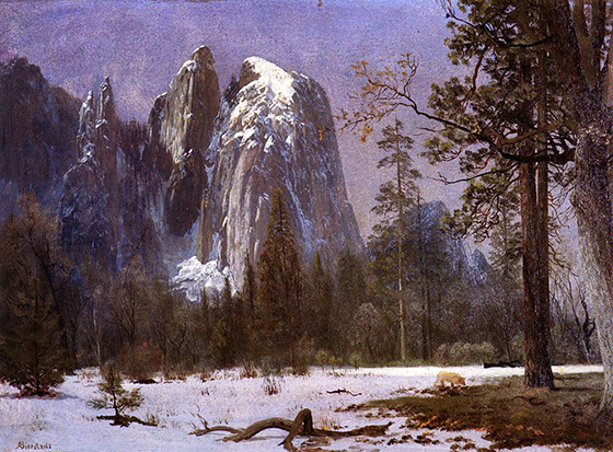 'Cathedral Rocks, Yosemite Valley, Winter' by Albert Bierstadt