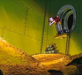 Scrooge McDuck takes a dive into his money bin.
