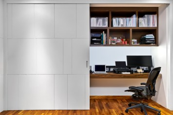 Interior design photography showing an office with computers and office chair at simei rise condo in singapore
