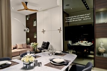 Interior design photography showing living area with dining table at simei rise condo in singapore